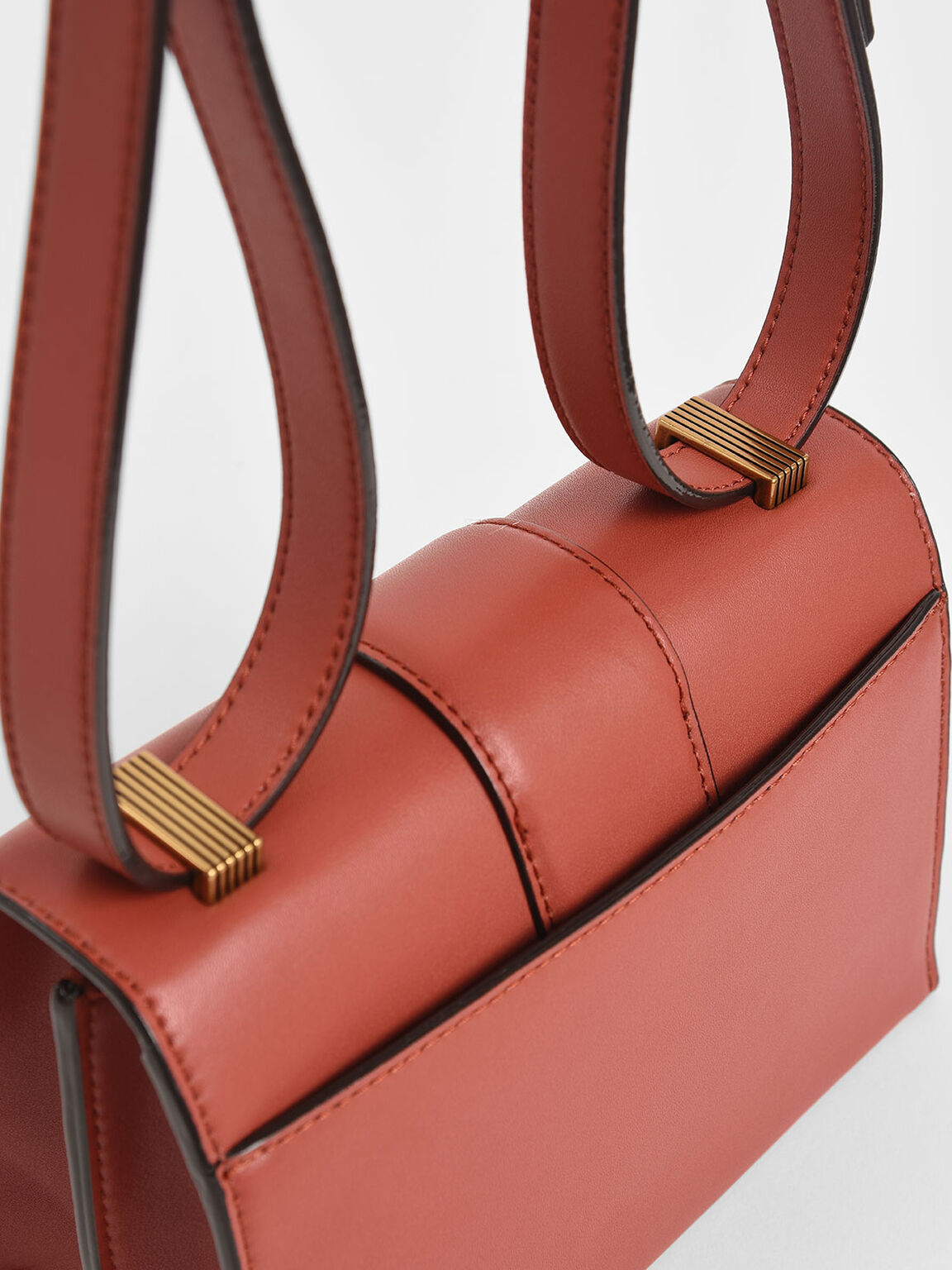 Metallic Push-Lock Crossbody Bag, Clay, hi-res