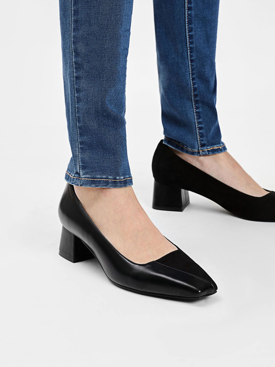 Trapeze Heel Pumps, Black, hi-res