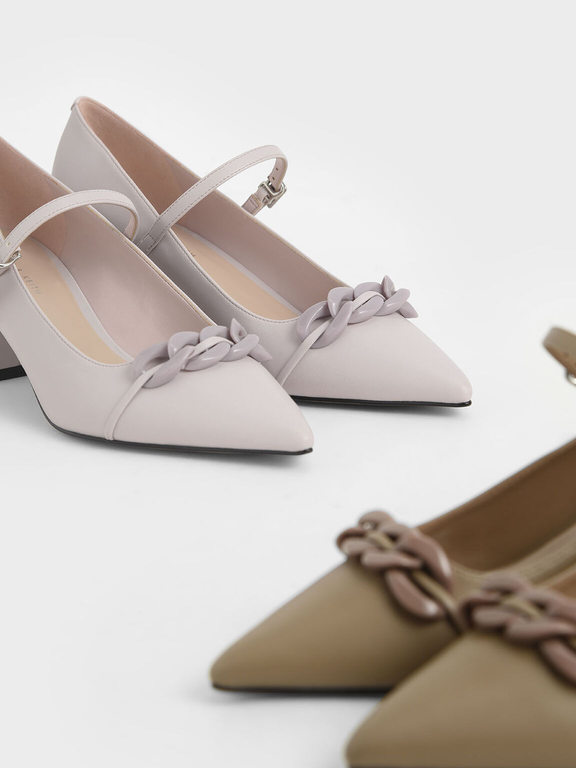 Chain Link Mary Jane Court Shoes, Taupe, hi-res