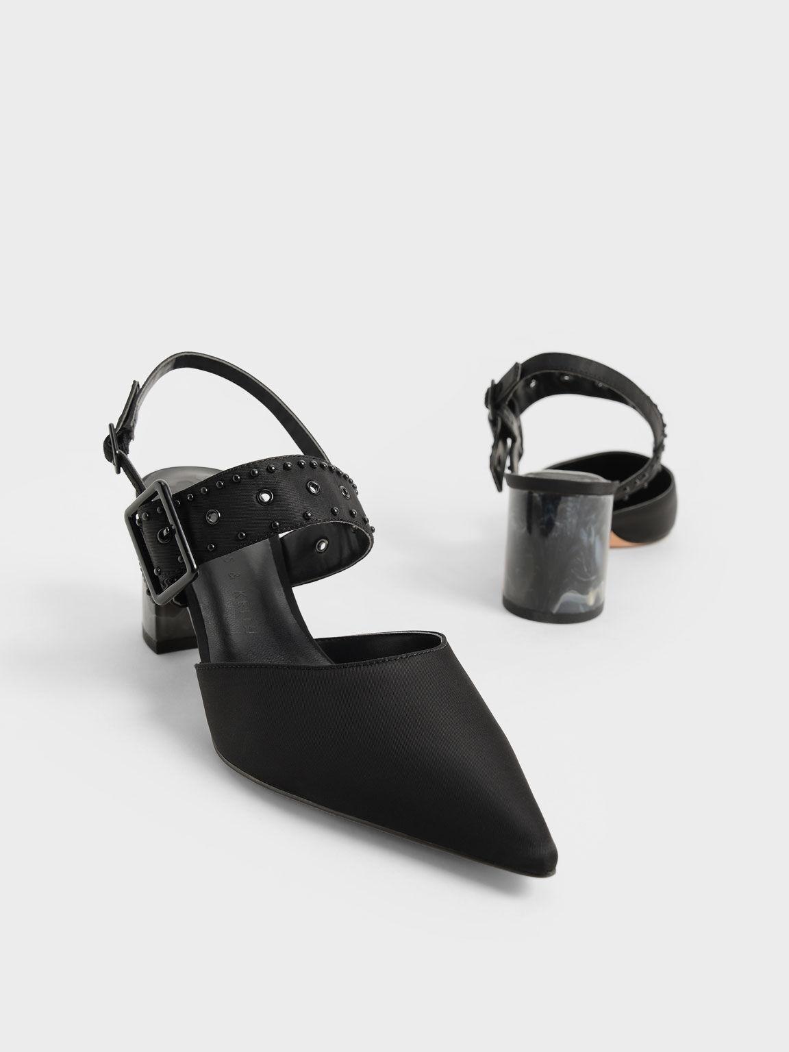 The Anniversary Series: Sepphe Recycled Nylon Grommet Slingback Pumps, Black, hi-res