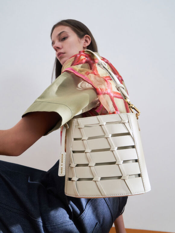 Braided Bucket Bag, Cream, hi-res