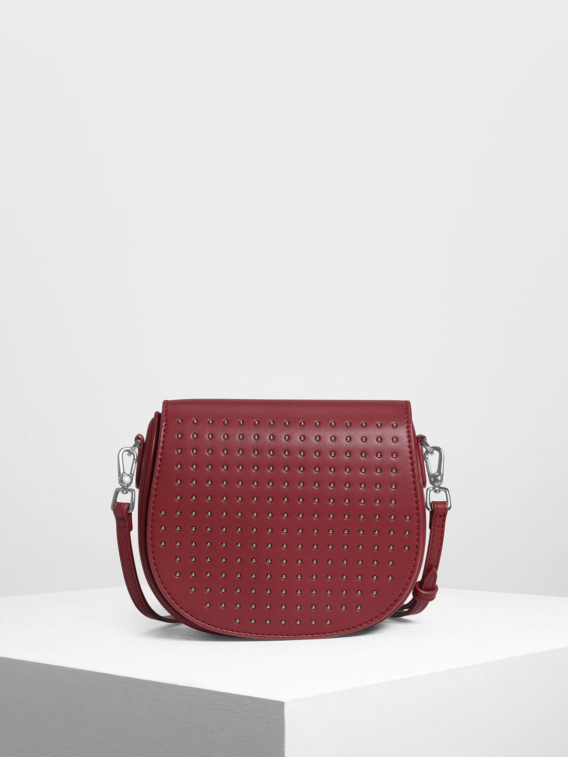Kids Micro Stud Detail Crossbody Bag, Red, hi-res