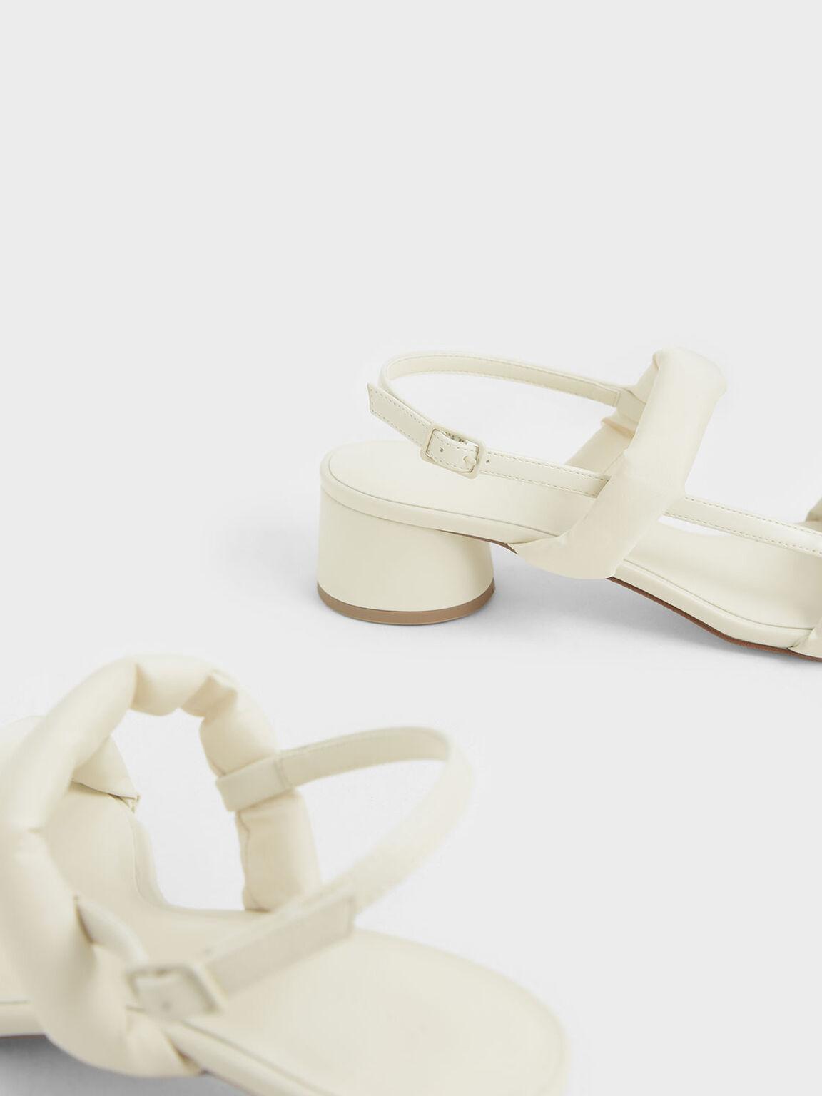 Puffy Strap Sandals, Cream, hi-res