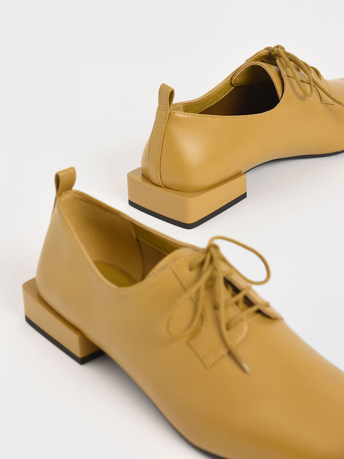 Square Toe Oxford Shoes, Mustard, hi-res