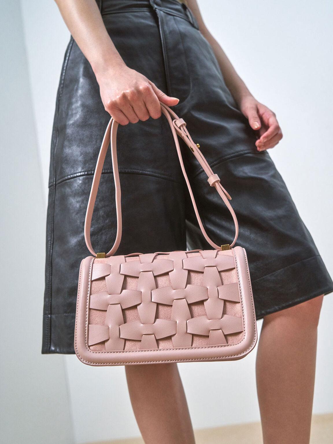 Weave Detail Shoulder Bag, Pink, hi-res