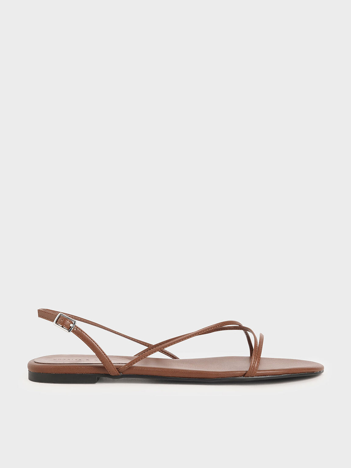 Strappy Flat Sandals, Brown, hi-res