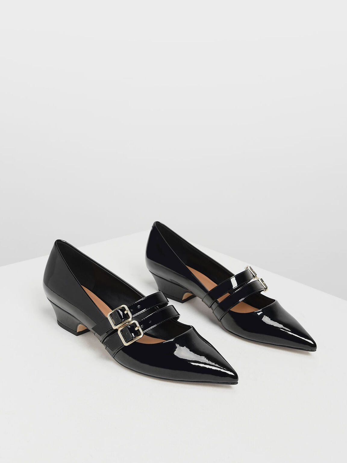 Double Strap Mary Jane Pumps, Black, hi-res