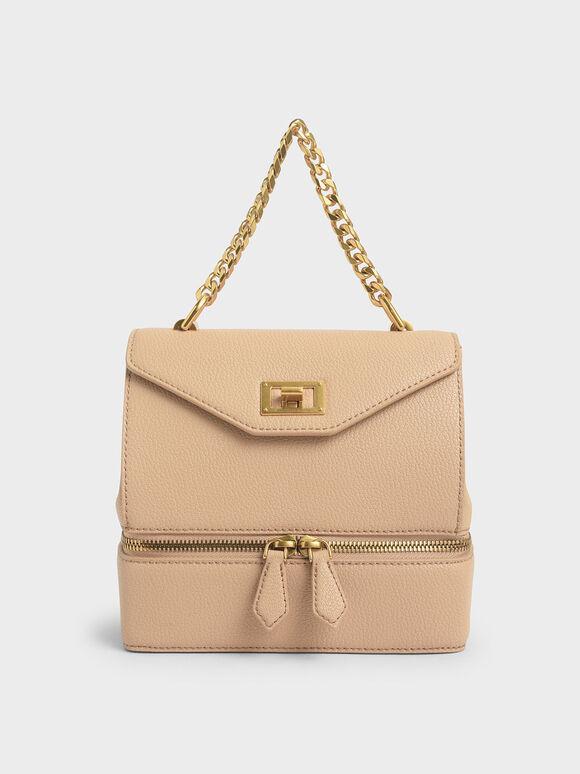 Two-Way Zip Handbag, Beige, hi-res