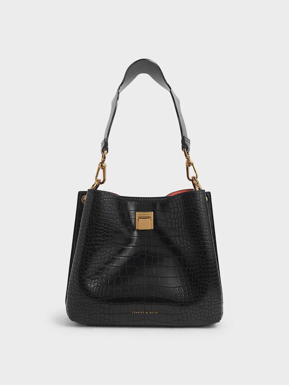 Croc-Effect Bucket Shoulder Bag, Black, hi-res