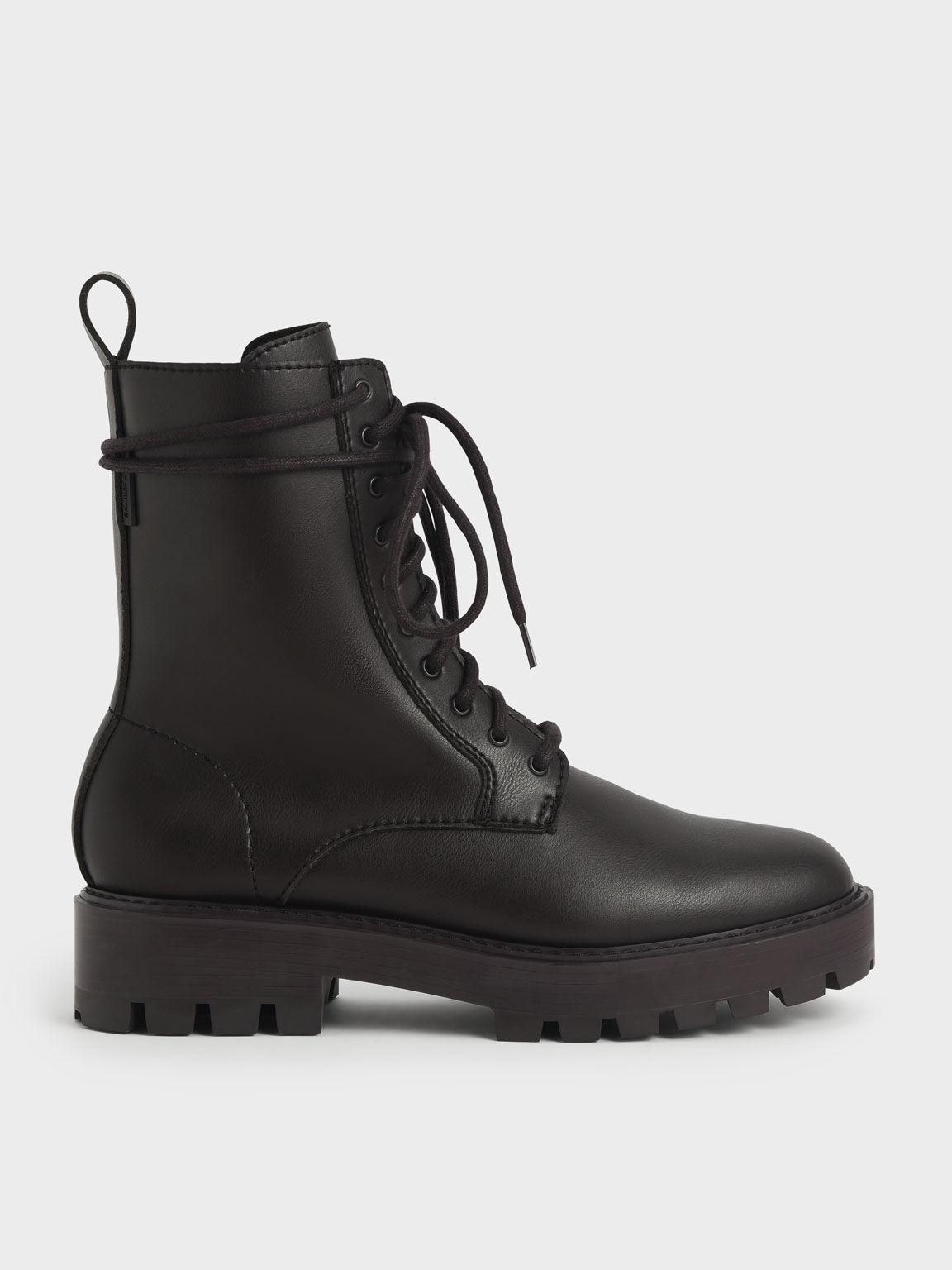 Lace-Up Calf Boots, Dark Brown, hi-res