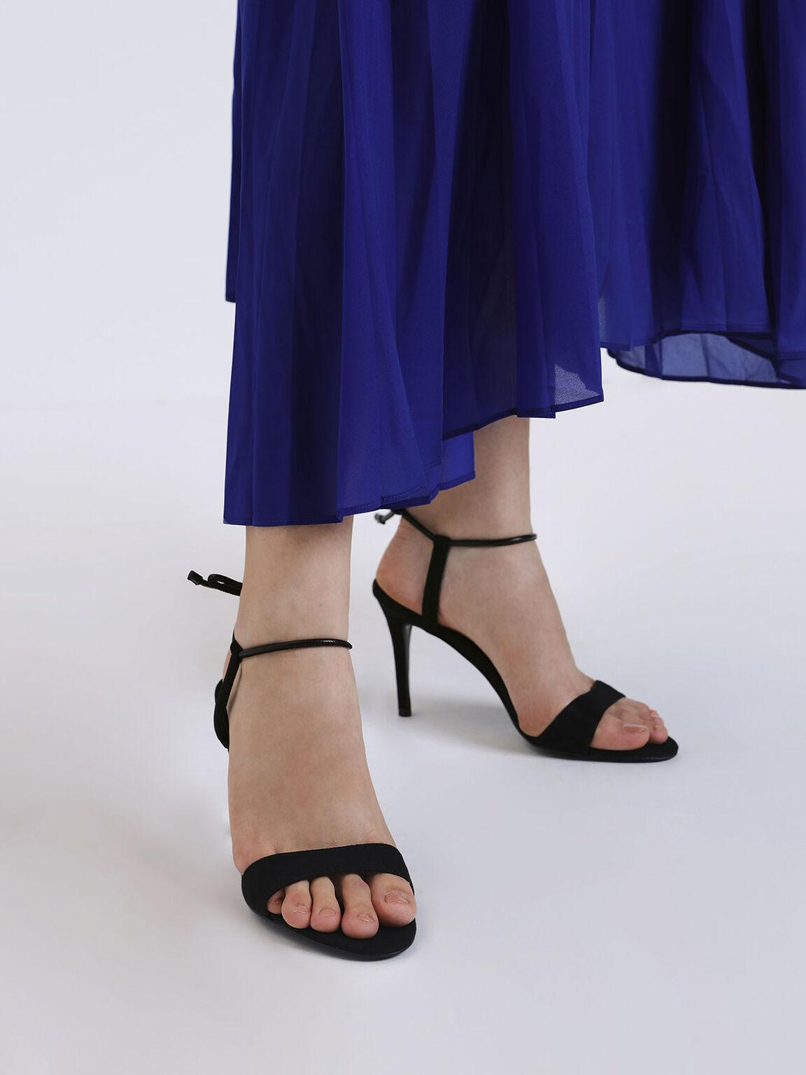 Ankle Tie Stiletto Sandals, Black, hi-res