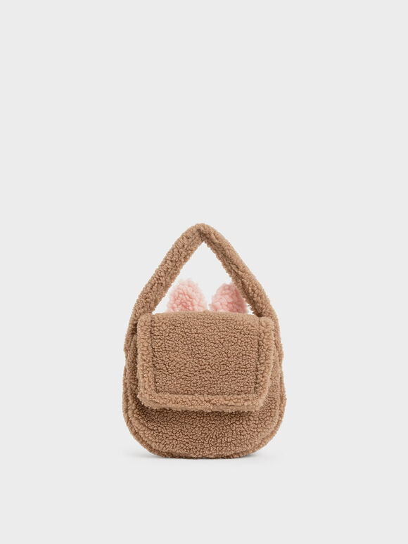 Girls' Furry Top Handle Bag, Camel, hi-res