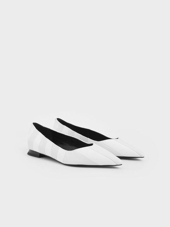 Wrinkled Leather Striped Ballerina Flats, White, hi-res