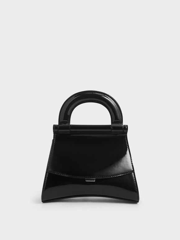 Patent Top Handle Bag, Black, hi-res