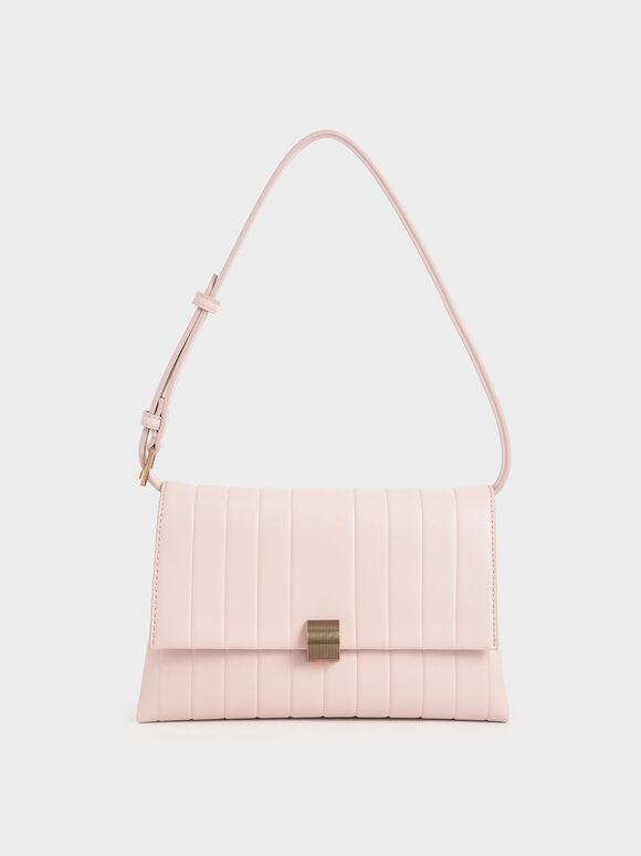 Panelled Crossbody Bag, Light Pink, hi-res