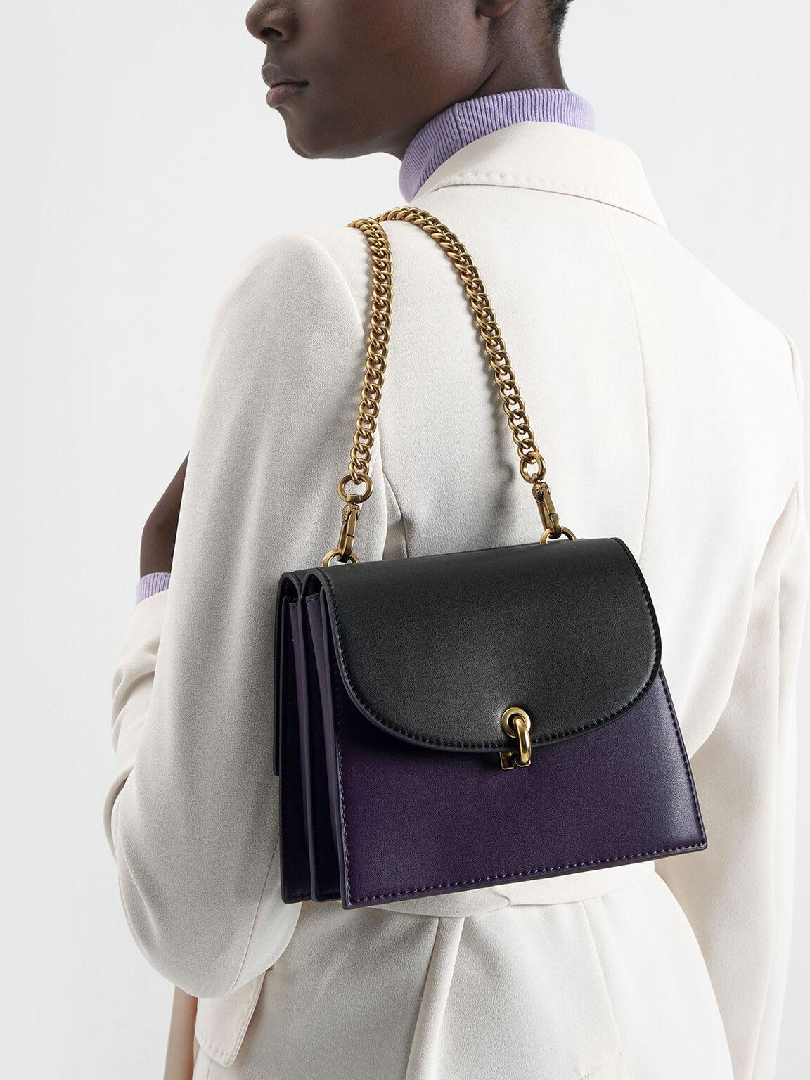 Two-Tone Mini Trapeze Crossbody Bag, Purple, hi-res