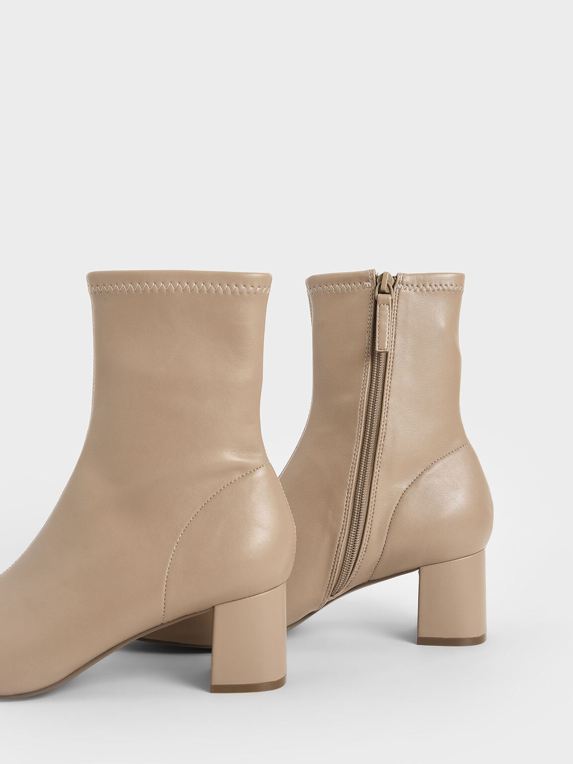 Block Heel Ankle Boots, Taupe, hi-res