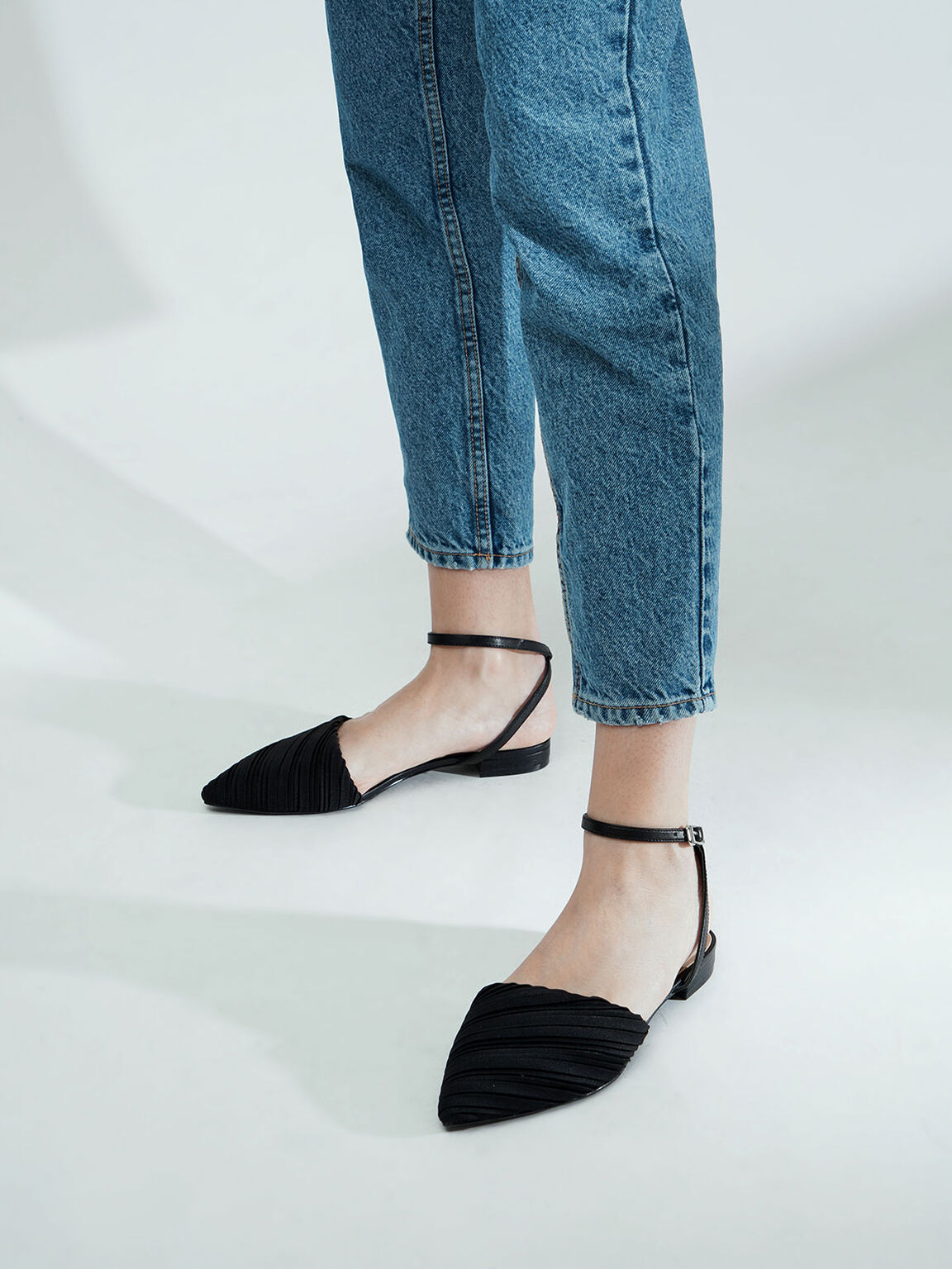 Pleated Ankle Strap Flat Court Shoes, Black, hi-res