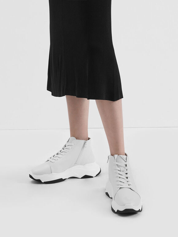 Lace-Up Chunky High Top Sneakers, White, hi-res