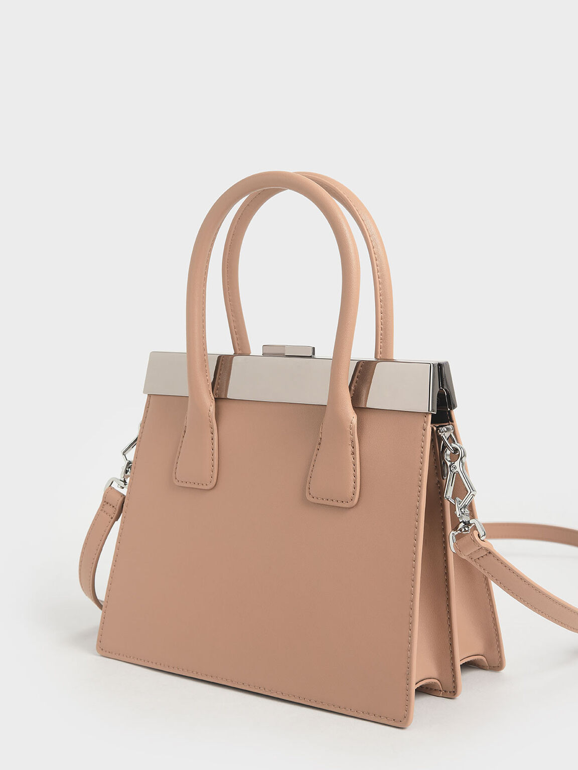 Leather Top Handle Bag, Brown, hi-res