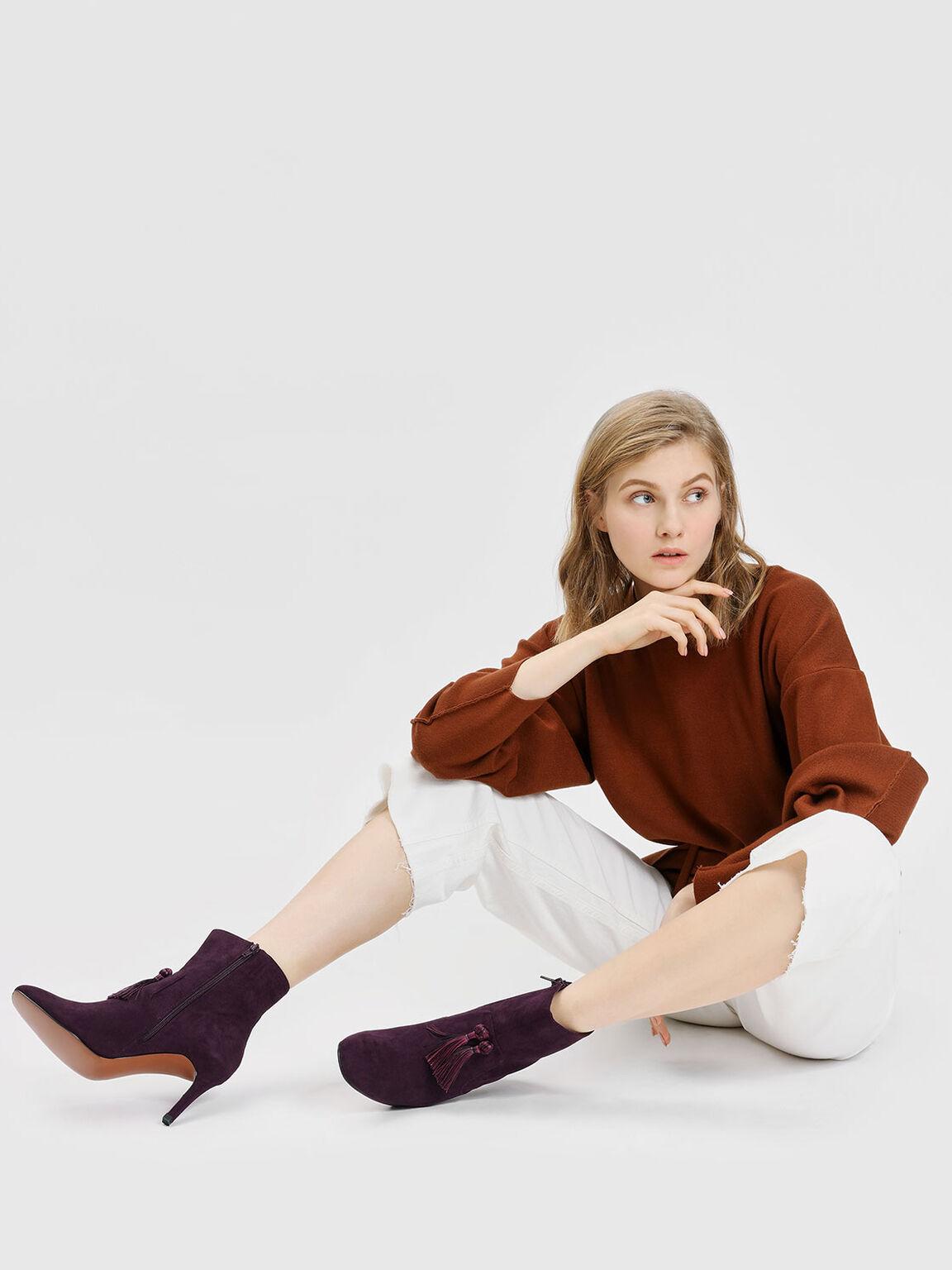 Tassel Detail Calf Boots, Purple, hi-res