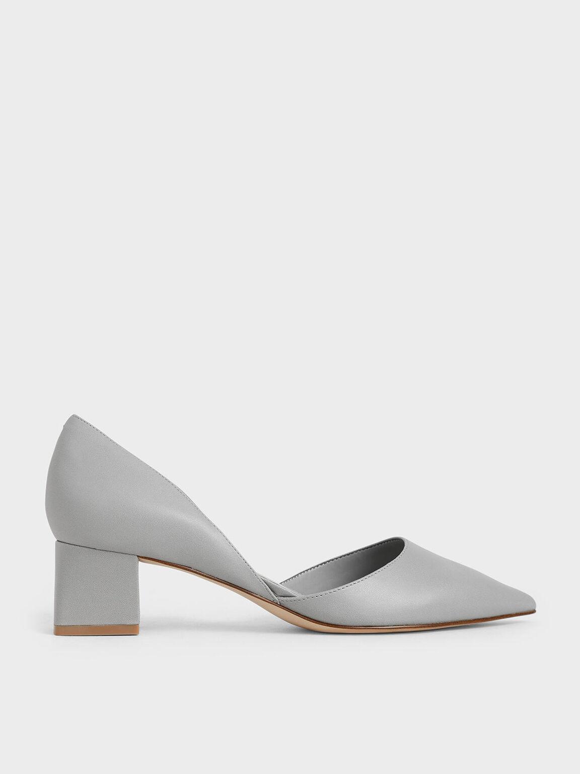 D'Orsay Block Heel Pumps, Grey, hi-res