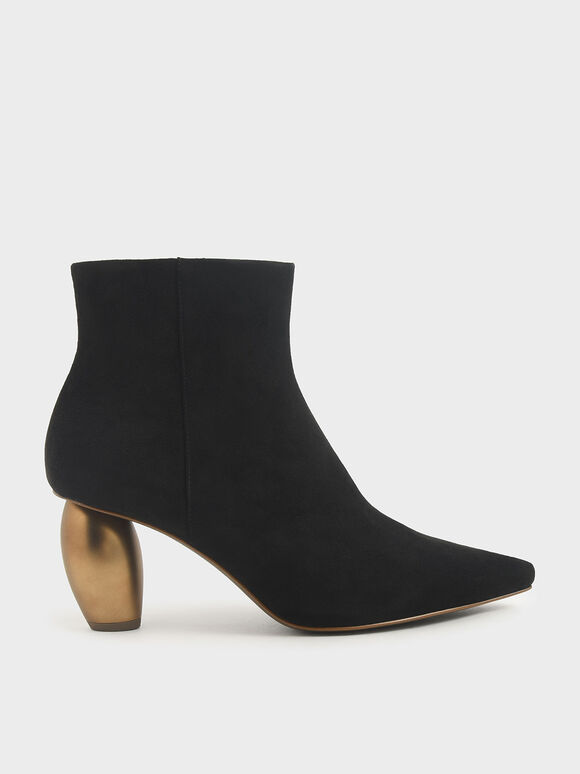 Textured Sculptural Heel Ankle Boots, Black, hi-res