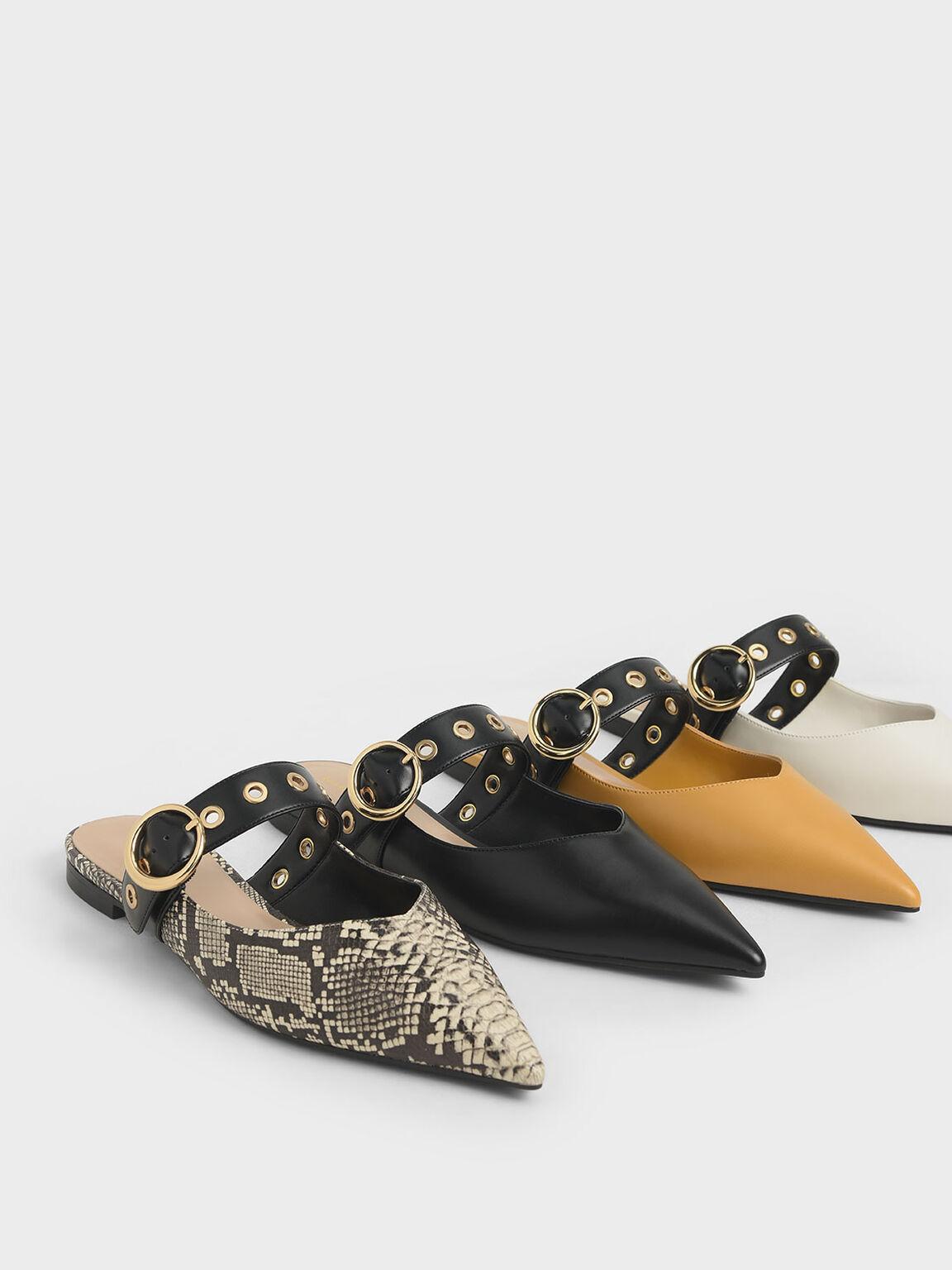 Eyelet-Embellished Mules, Black, hi-res