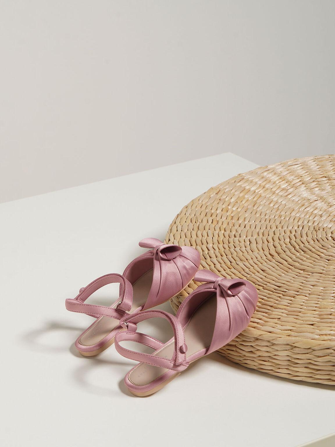 Girls' Satin Flats, Pink, hi-res
