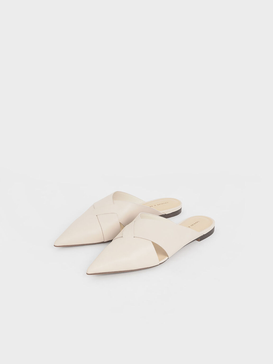 Woven Pointed Toe Mules, Chalk, hi-res