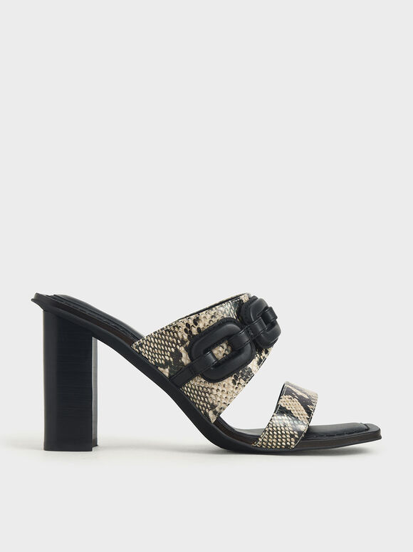 Leather Snake Print Mules, Multi, hi-res