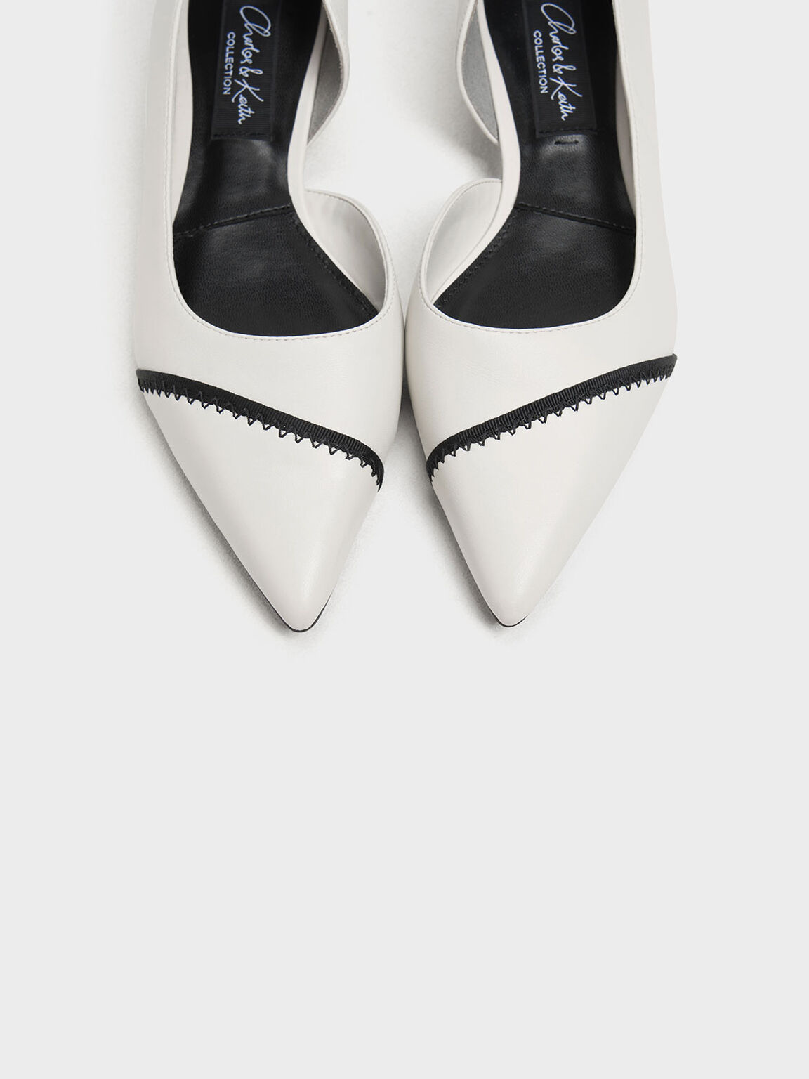 Asymmetrical Leather Ballerinas, White, hi-res