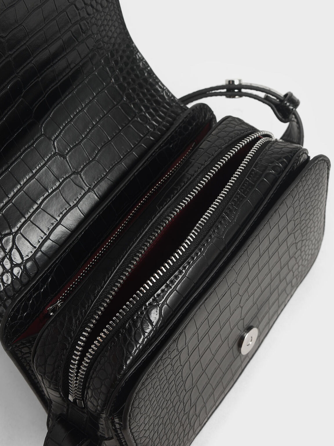 Buckle Strap Croc-Effect Shoulder Bag, Black, hi-res