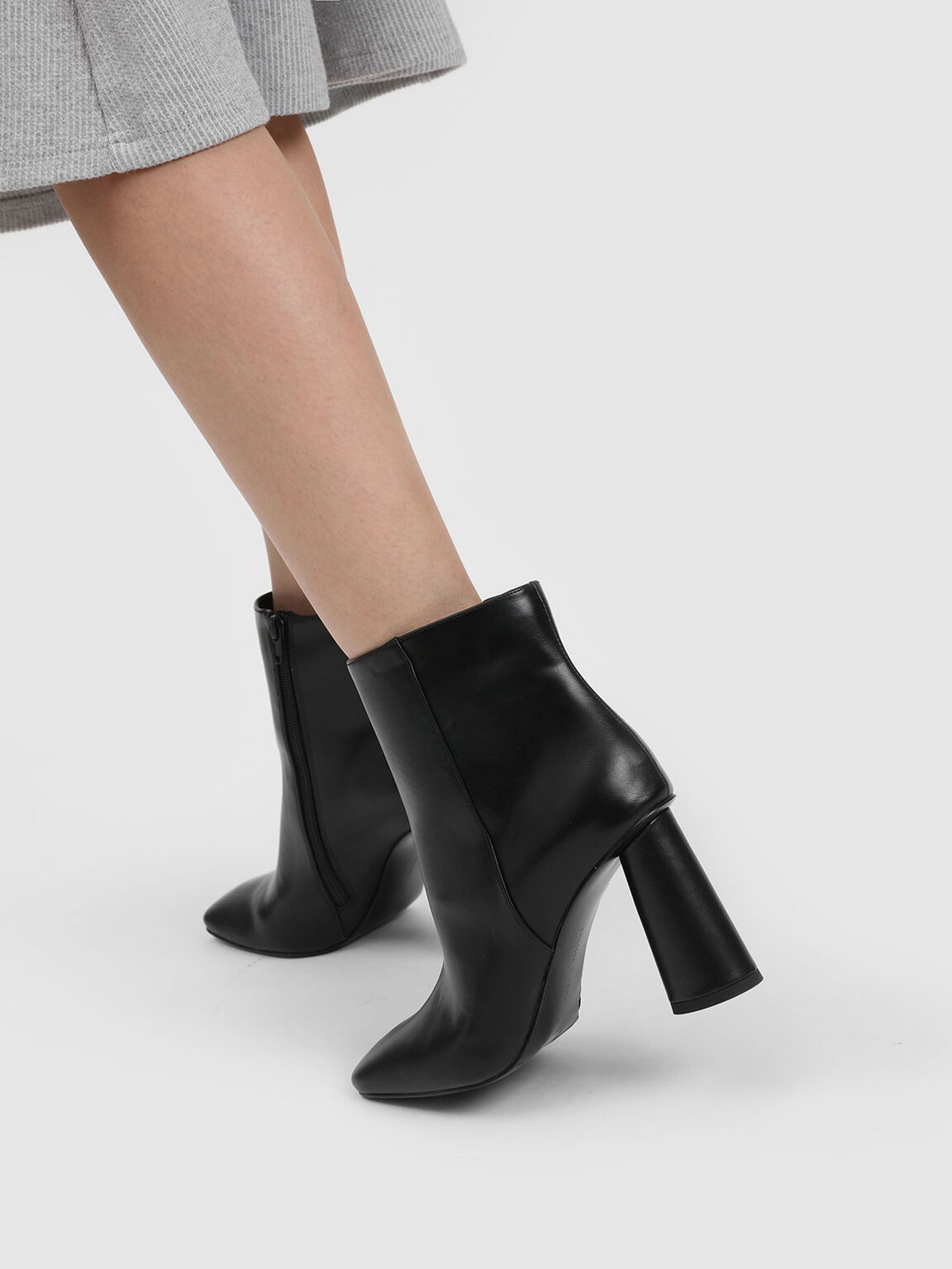 Square Toe Calf Boots, Black, hi-res