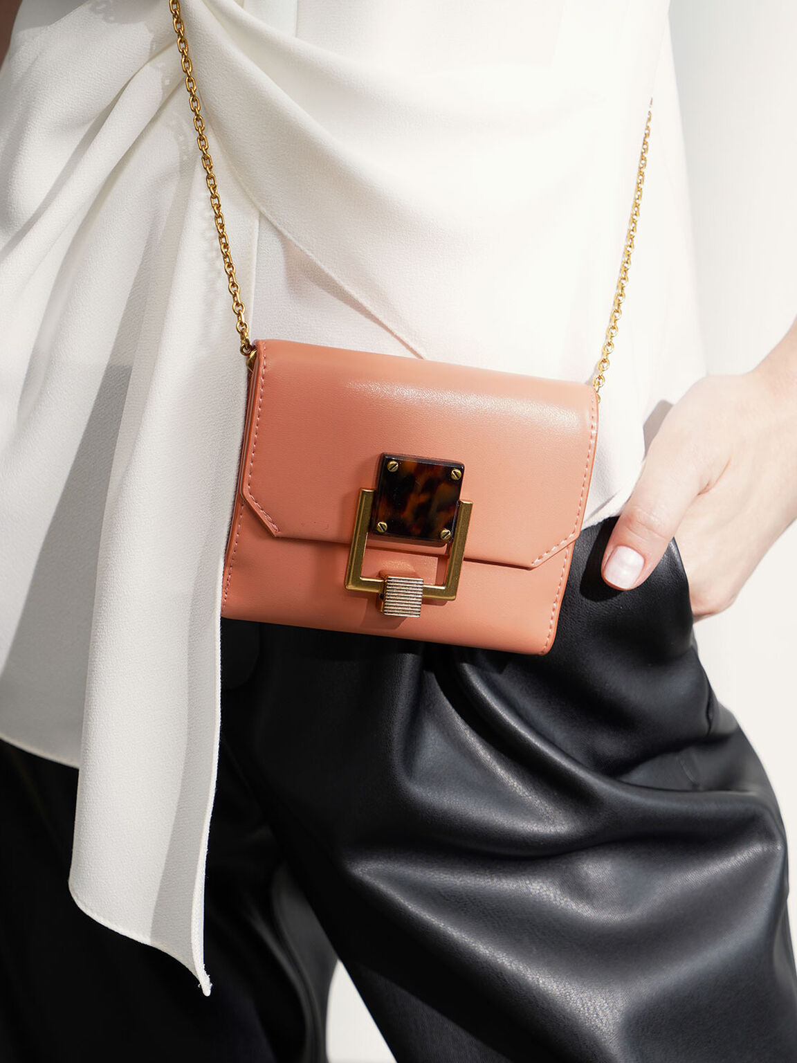 Metallic Accent Mini Wallet, Peach, hi-res