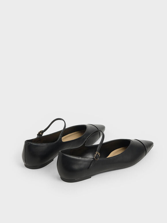 Pointed Toe Mary Jane Flats, Black, hi-res