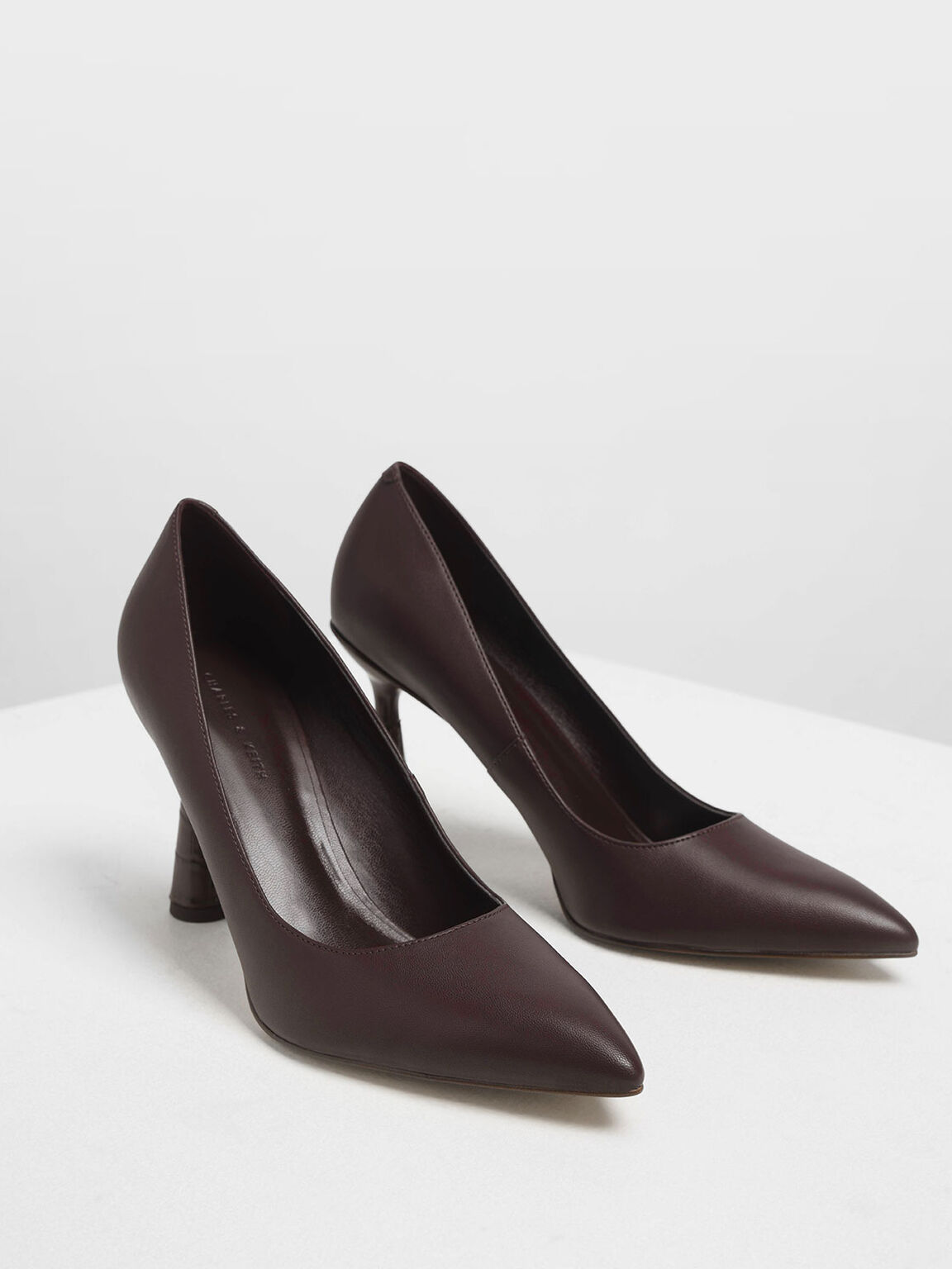 Sculptural Heel Pointed Toe Pumps, Burgundy, hi-res