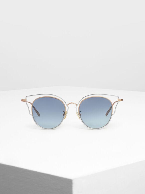 Double Frame Wingtip Sunglasses, Gold, hi-res