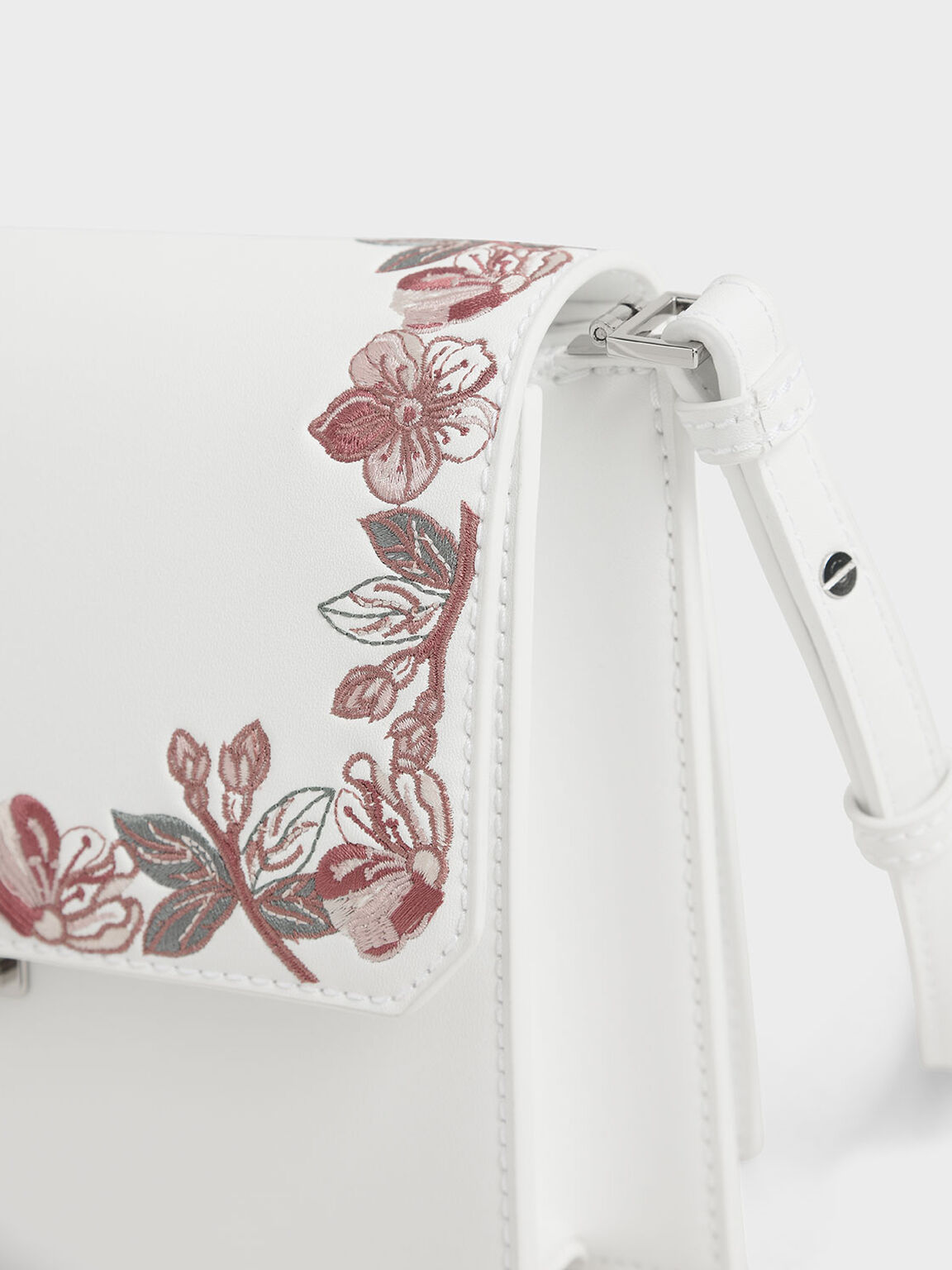 Floral Embroidered Turn Lock Bag, White, hi-res