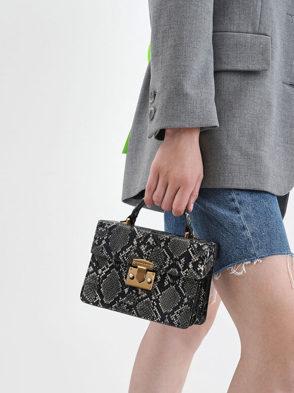 Snake Print Top Handle Bag, Grey, hi-res