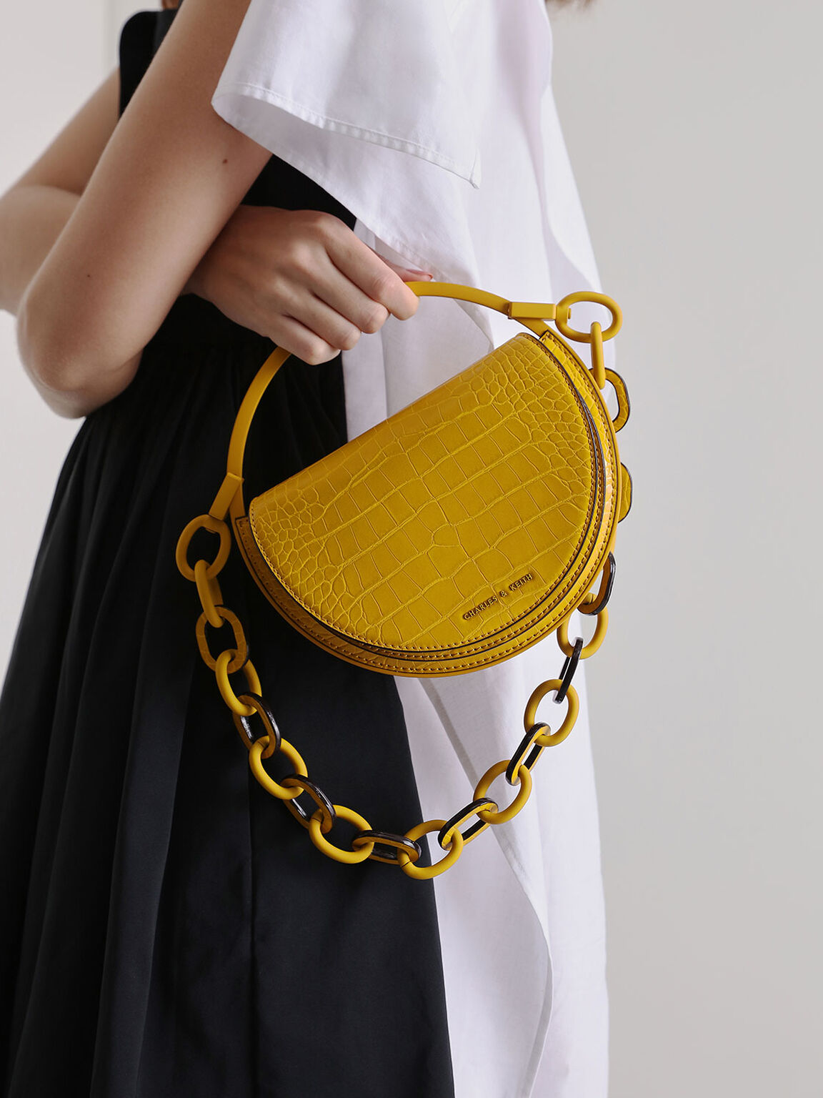 Croc-Effect Semi-Circle Clutch, Yellow, hi-res