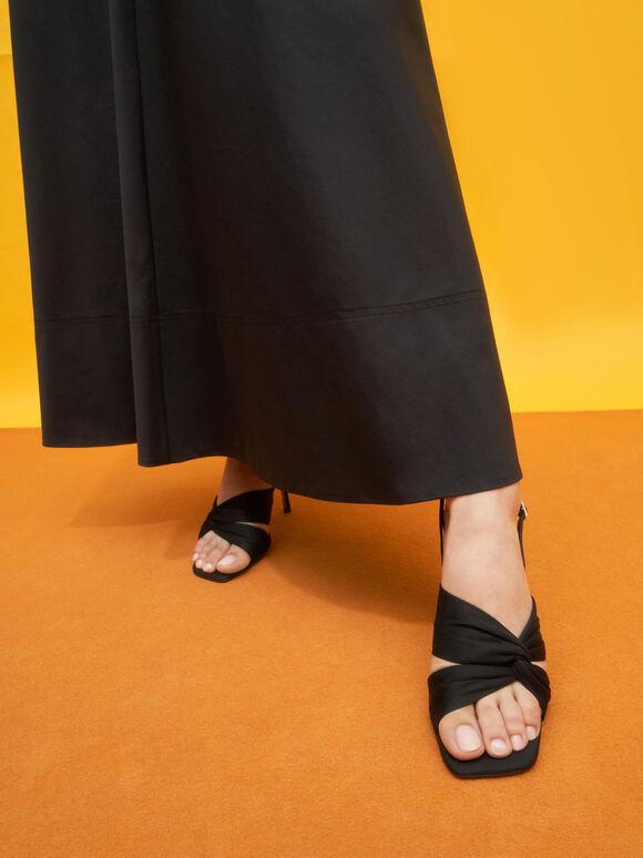 Cotton Knotted Slingback Sandals, Black, hi-res