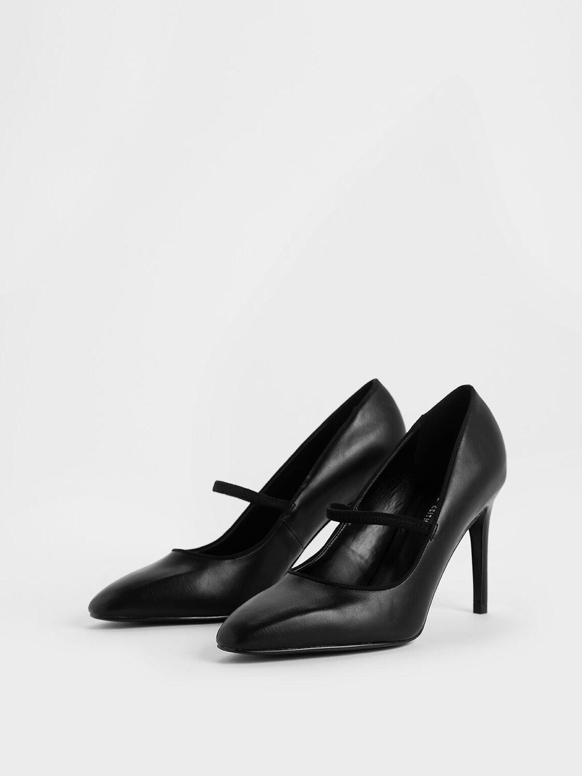 Mini Square Toe Mary Jane Pumps, Black, hi-res