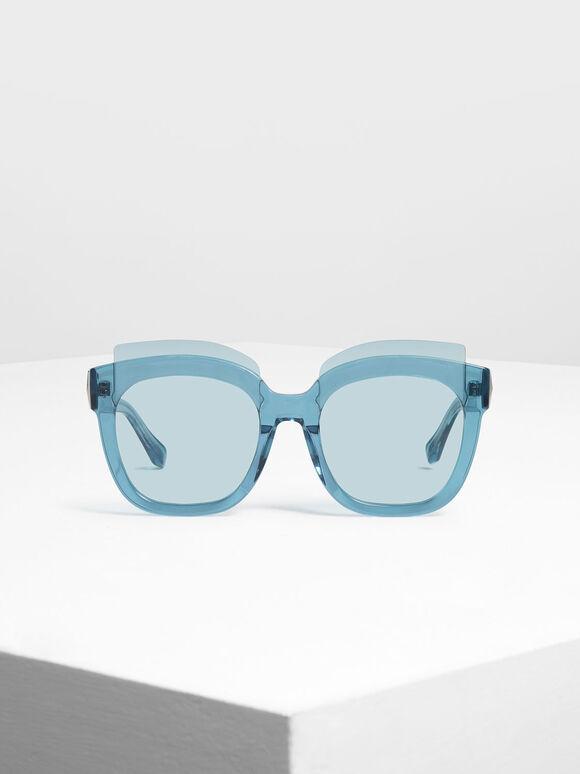 Oversized Lens Sunglasses, Blue, hi-res