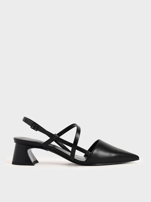 Strappy Trapeze Heel Court Shoes, Black, hi-res