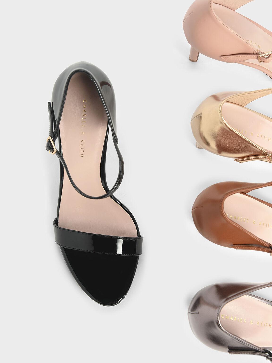 Patent Ankle Strap Stiletto Heels, Black, hi-res