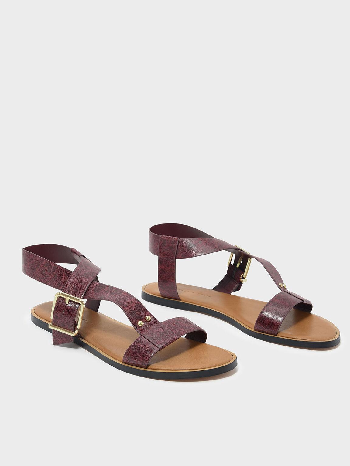 Thick Strap Sandals, Burgundy, hi-res