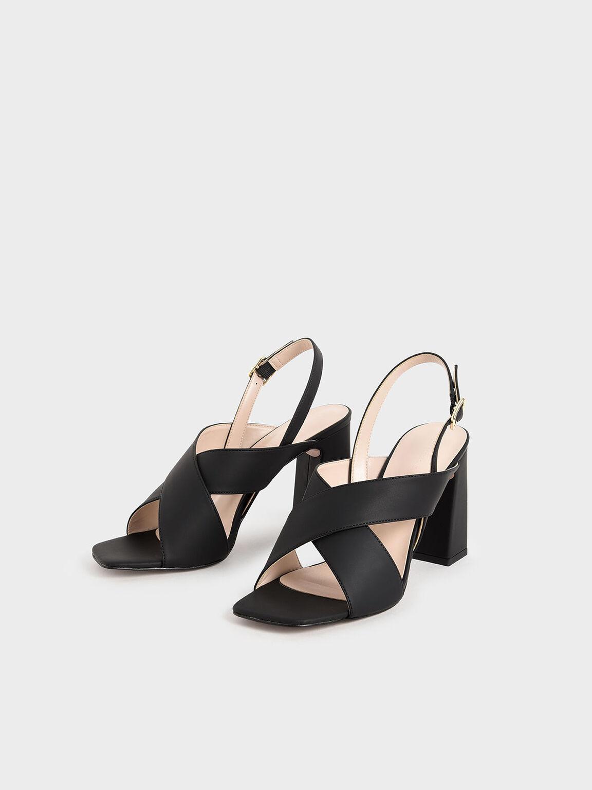 Criss-Cross Slingback Heeled Sandals, Black, hi-res