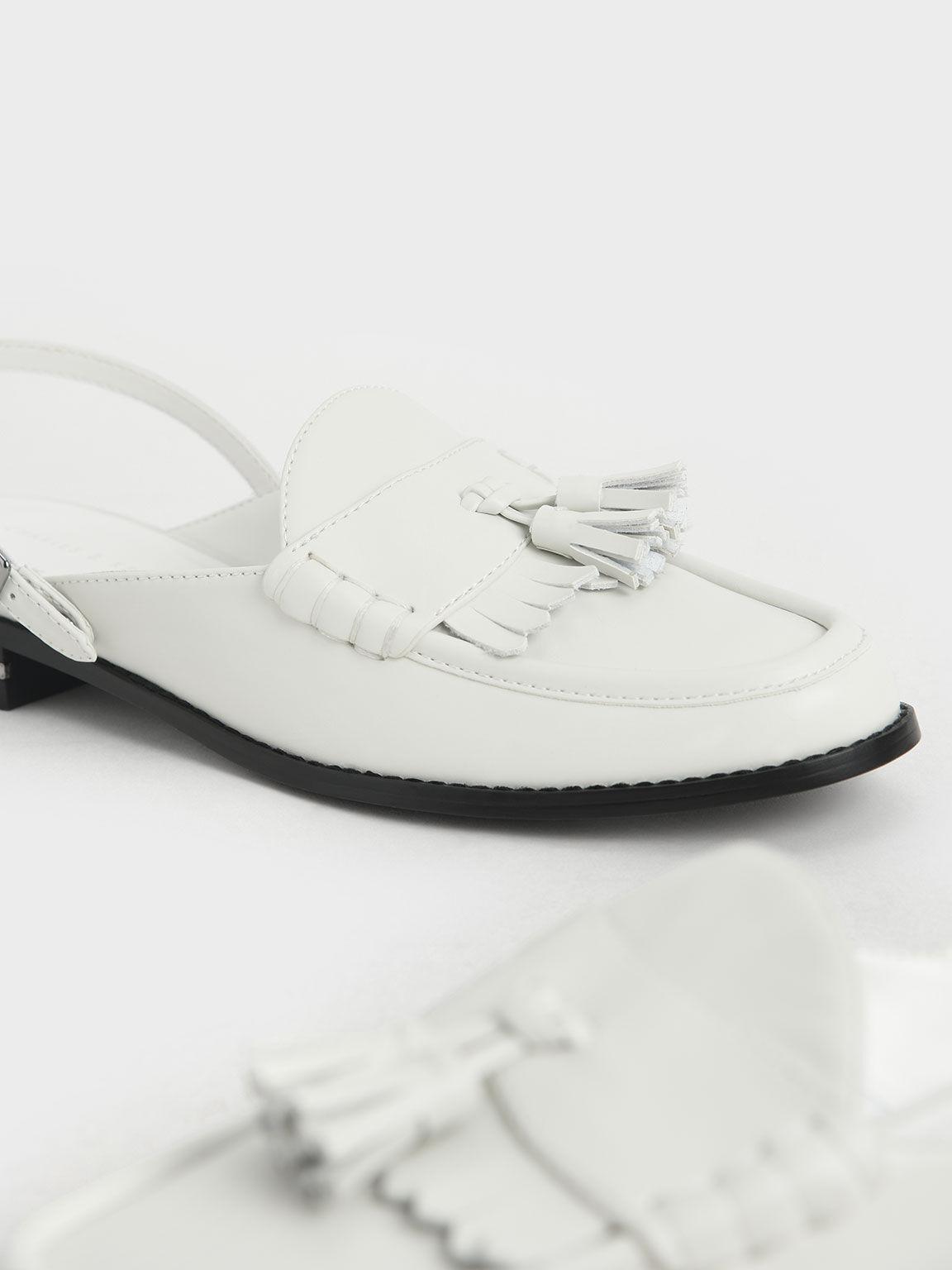 Tassel Slingback Loafer Mules, White, hi-res