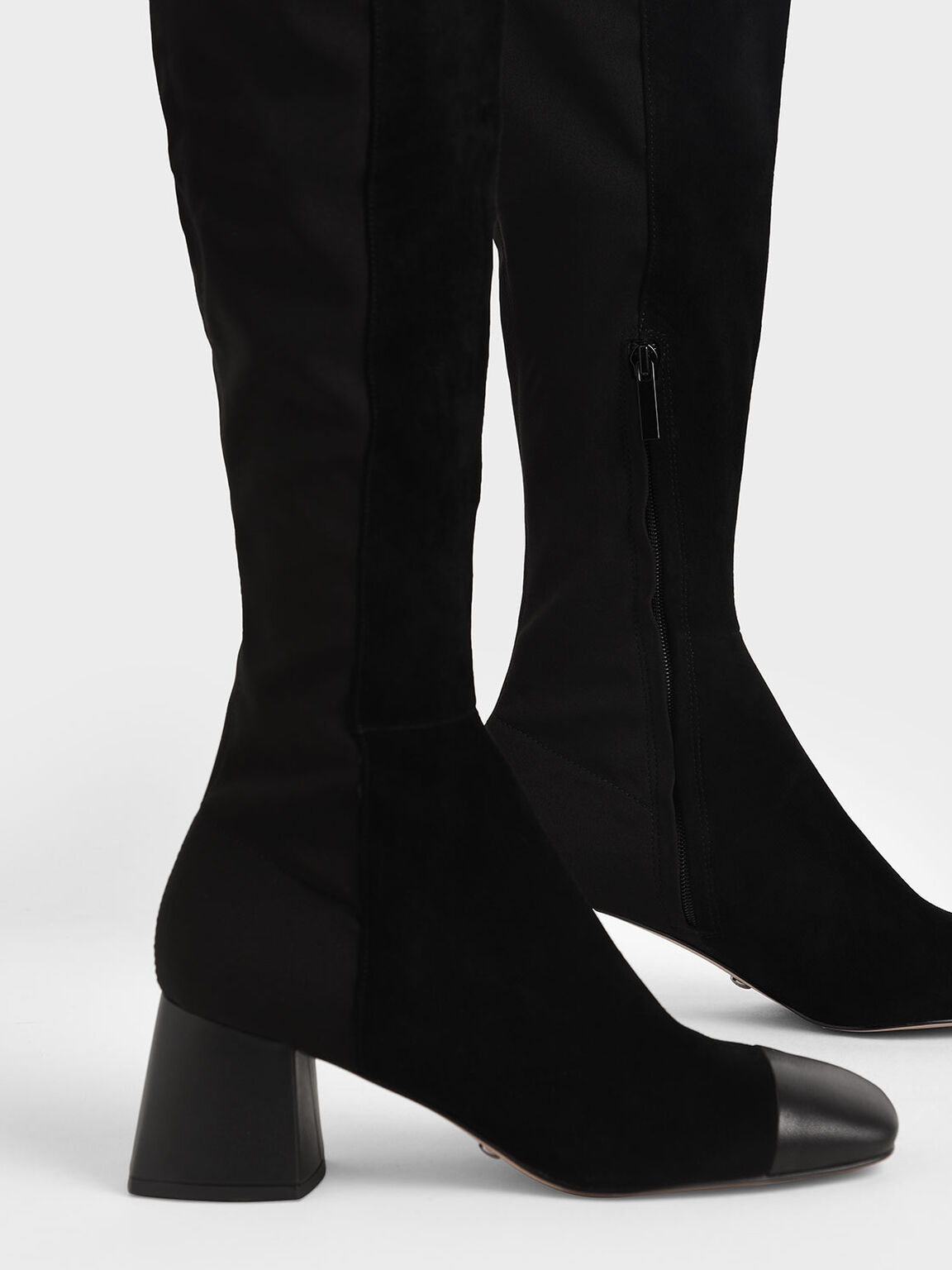 Leather & Kid Suede Thigh High Boots, Black, hi-res
